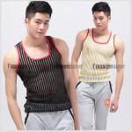 Mesh Transparent Stripe Singlet for Men