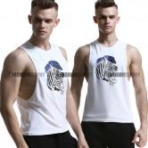 White Zebra Side Deep-V Singlet for Men