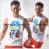 Captain America Comic Side Deep-V Hunky Singlet for Men